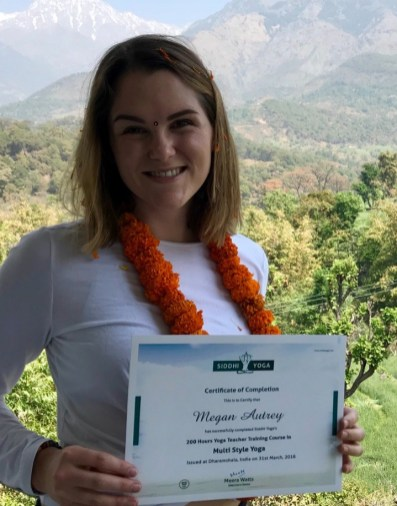 Megan with her new Yoga Teaching Certification!