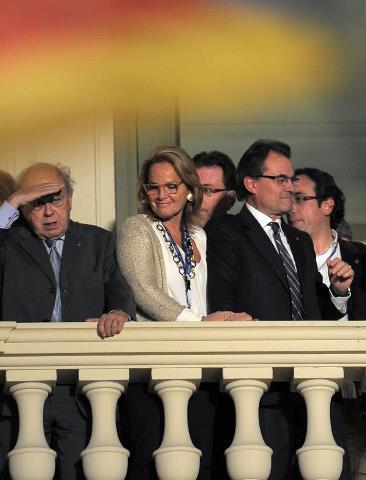 Jordi Pujol en el balcón de la Generalitat
