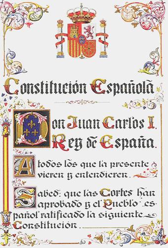 Fácsimil de la primera página de la Constitución Española de 1978