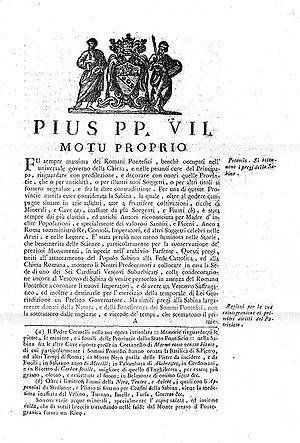 Motu Proprio Pío VII
