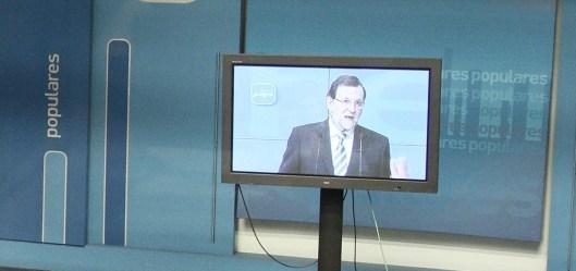 Mariano Rajoy comparece tv plasma
