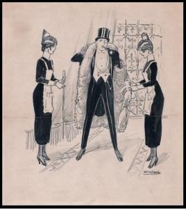 Hombre en chaqué con dos doncellas, Rafael de Penagos (Colección Fundación Mapfre)