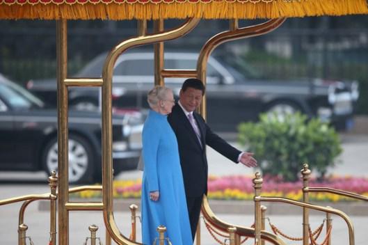 La reina de Dinamarca y el Primer Ministro de China