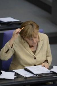 German chancellor Angela Merkel reads no
