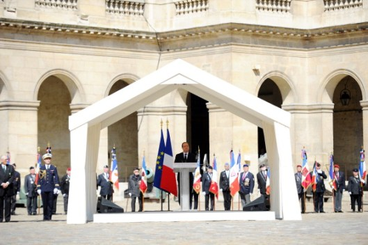 French President Francois Hollande delivers a speech at the Invalides courtyard in Paris, on April 24, 2013, during a military ceremony in homage to Francois Jacob, France's medicine Nobel prize laureate,  Compagnon de la Liberation and former Resistant during the Worl War II, who died at the age of 92, on April 19. AFP PHOTO POOL  LIONEL BONAVENTURE        (Photo credit should read LIONEL BONAVENTURE/AFP/Getty Images)