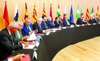 El Salón de Actos del Museo de la Evolución Humana, con las banderas de las autonomías y de España. Alberto Rodrigo