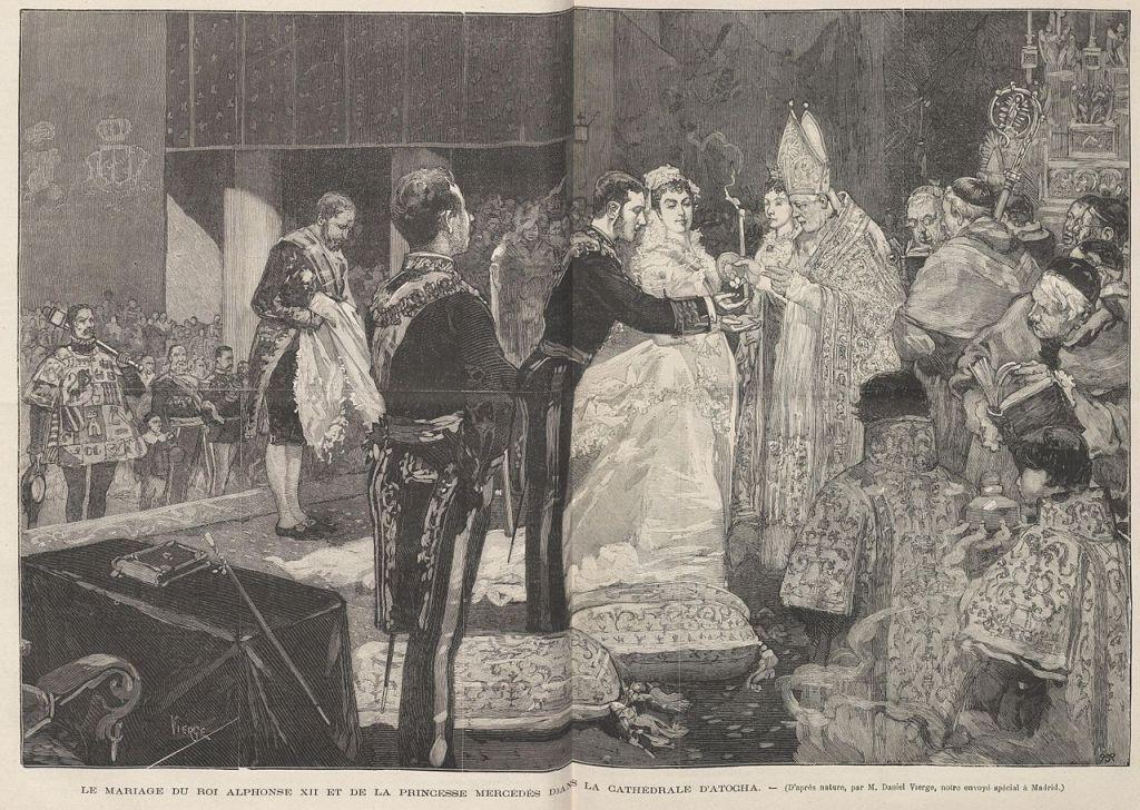 le_mariage_du_roi_alphonse_xii_et_de_la_princesse_mercedes_dans_la_cathedrale_datocha_de_vierge
