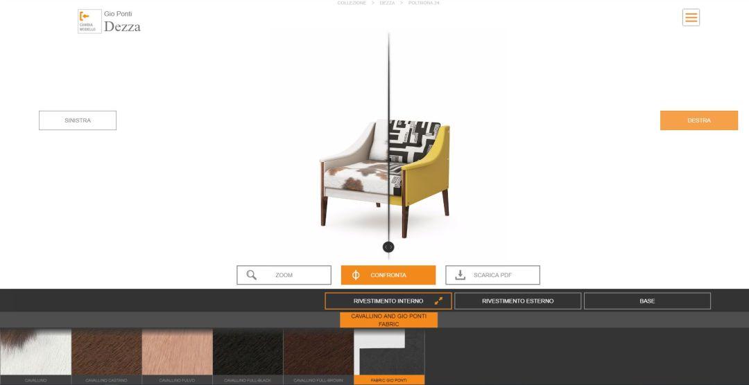 Poltrona Frau configuratore 3d WEB