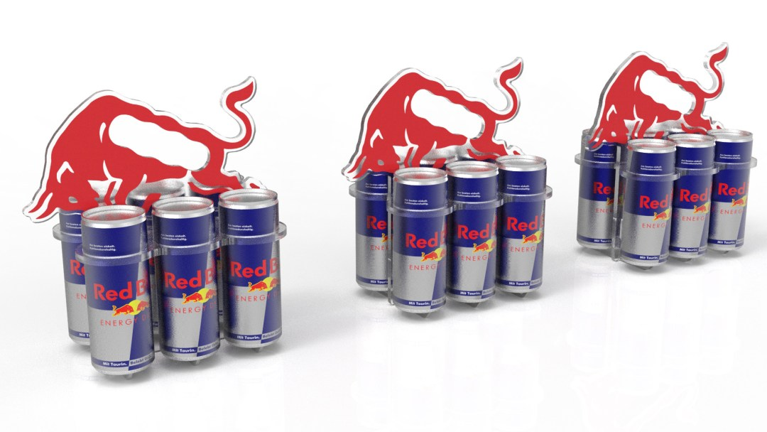 RED BULL CAN CARRIER 3D rendering
