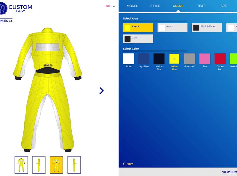 sparco custom easy configurator