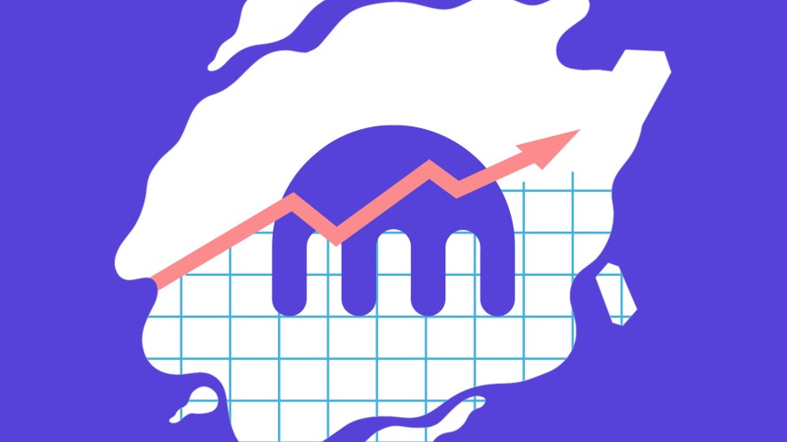 Kraken logo sitting on top of a graph showing an upward curve ahead of IPO