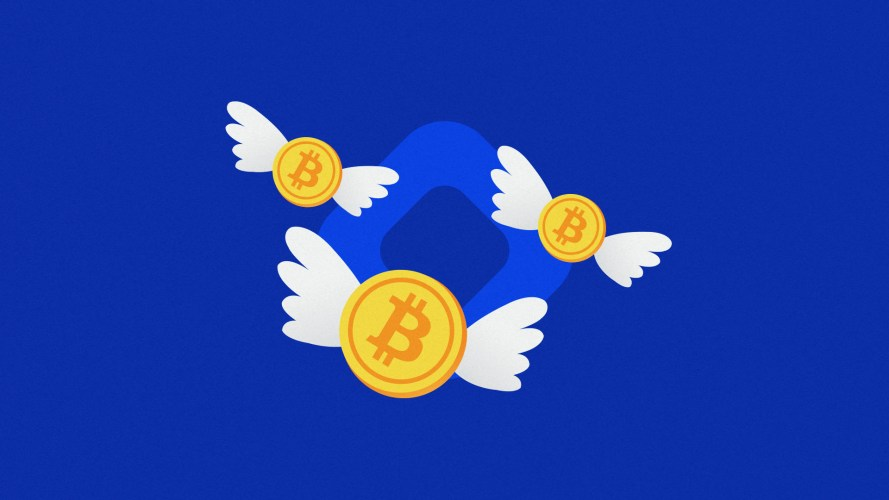 Three Bitcoin with wings flying in front of a BlockFi logo