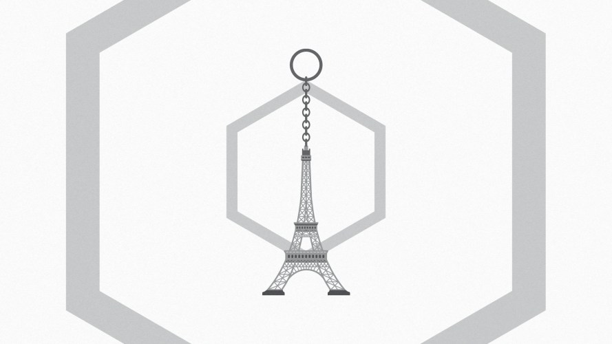 This is the Eiffel Tower, but the keychain version to show that we're writing about knockoff NFTs.