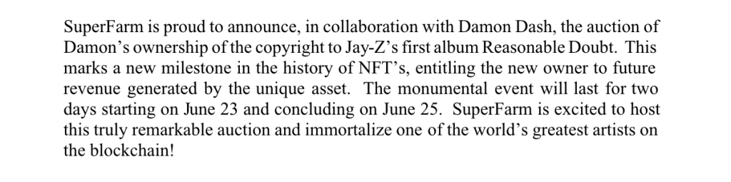 Roc-A-Fella Records sued co-founder Damon Dash to stop him flogging Jay-Z's debut album as an NFT.