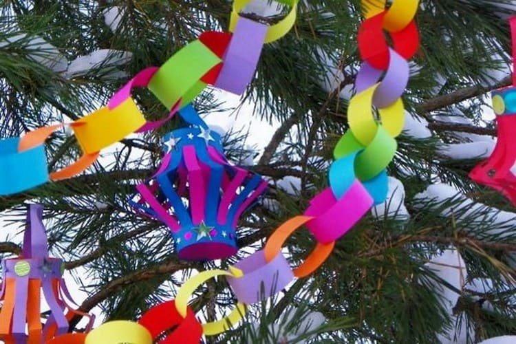 Украшения из бумаги на елку с детьми