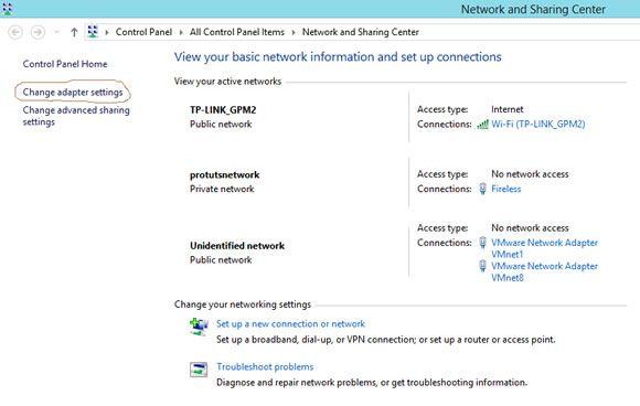 Capture d'écran - Centre réseau et partage de Windows 8