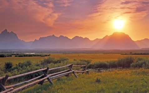 Sunset over the Grand Teton from the sagebrush flats; Grand Teton National Park, Wyoming, USA