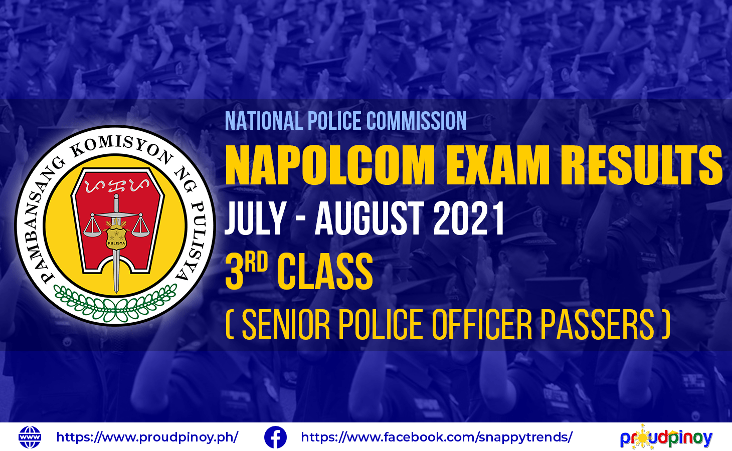 NAPOLCOM Exam Results July-August 2021, Senior Police Officer