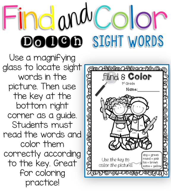 Find & Color Dolch Sight Word activities