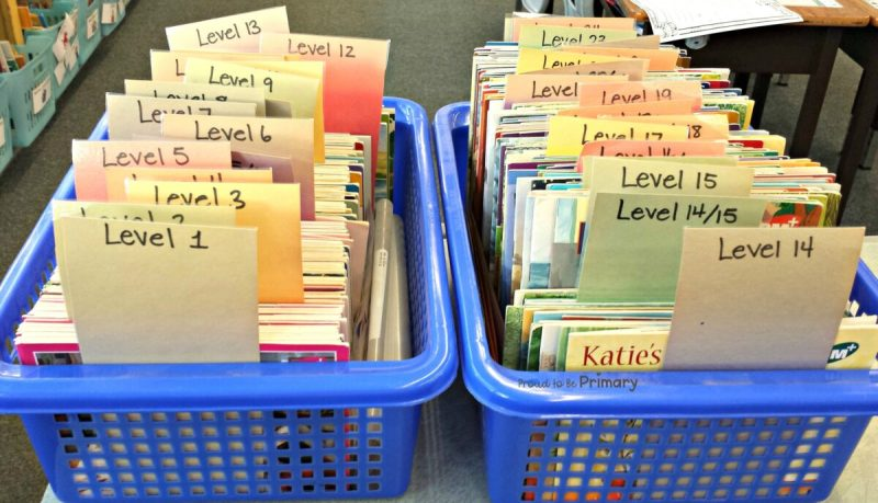 setting up a classroom and home reading program - book bins