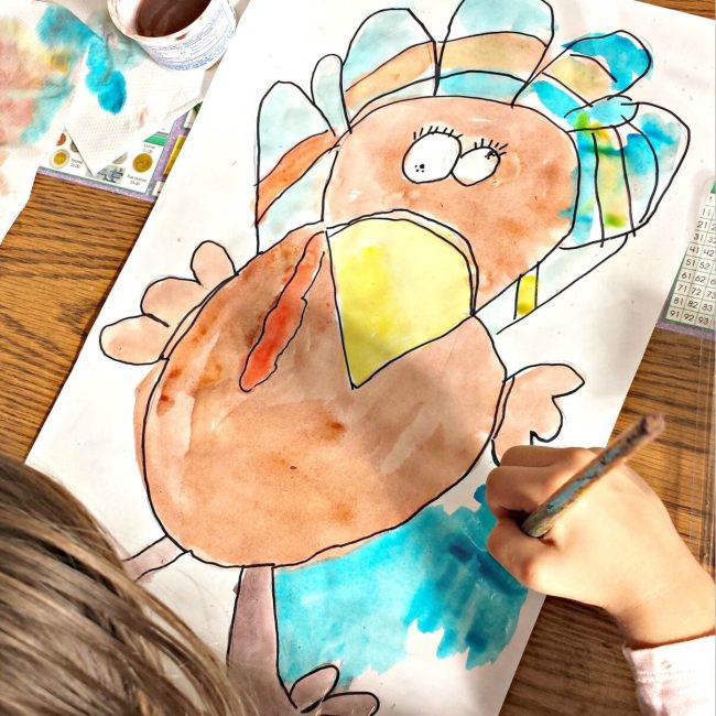 watercolor turkey drawing