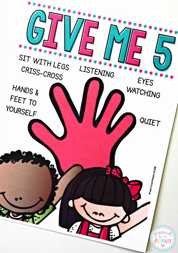 classroom management ideas give me five