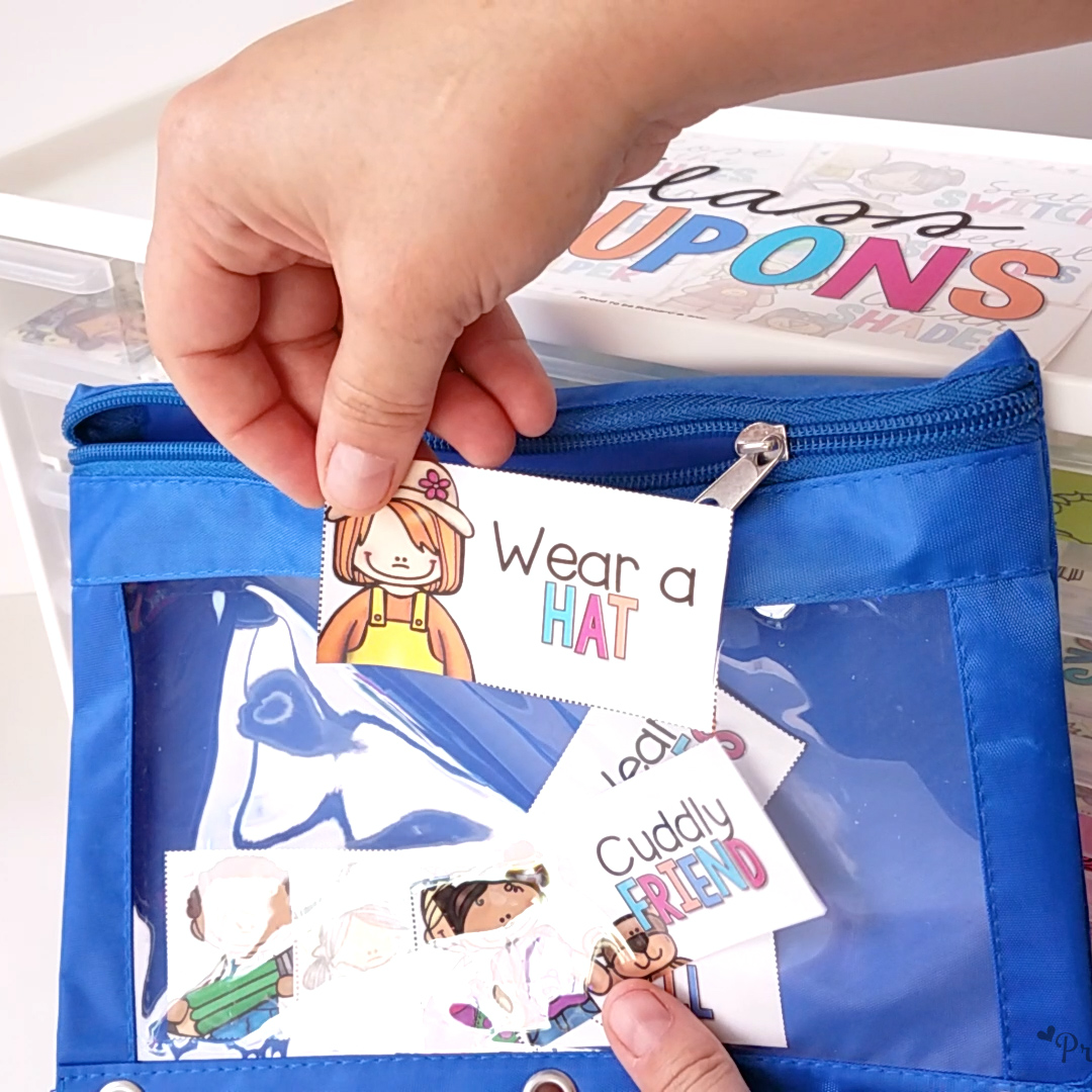 coupons for kids kept in a zippered pouch
