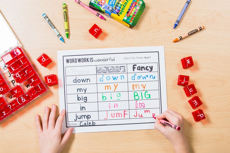 sight word stamping word work