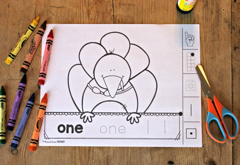 FREE Building number sense turkeys printable activity by Proud to be Primary.