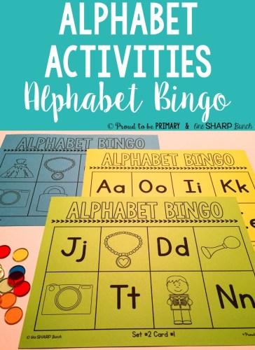 alphabet activities for small groups - alphabet bingo