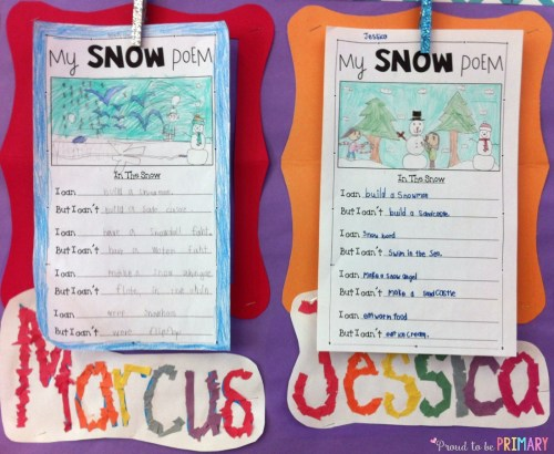 Snow Poetry: Winter Writing in the Snow - bulletin board