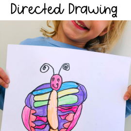 Spring Butterfly Directed Drawing Art Activity for Kids