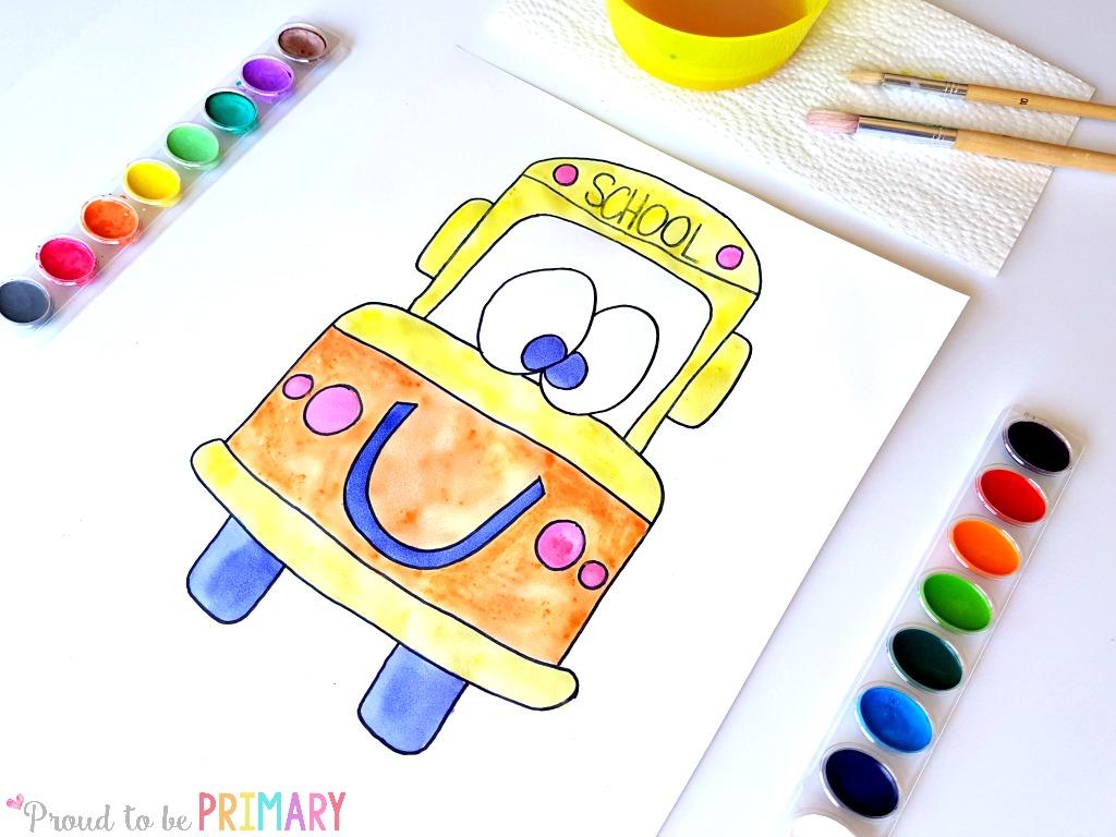school bus drawing step 6