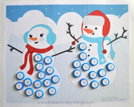 I Heart Crafty Things - Alphabet Snowman Match - Capital and Lowercase Letters
