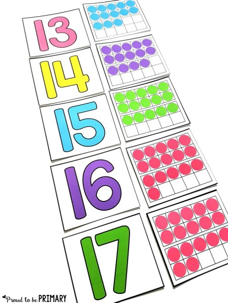 matching numbers with ten frames for building number sense to 20