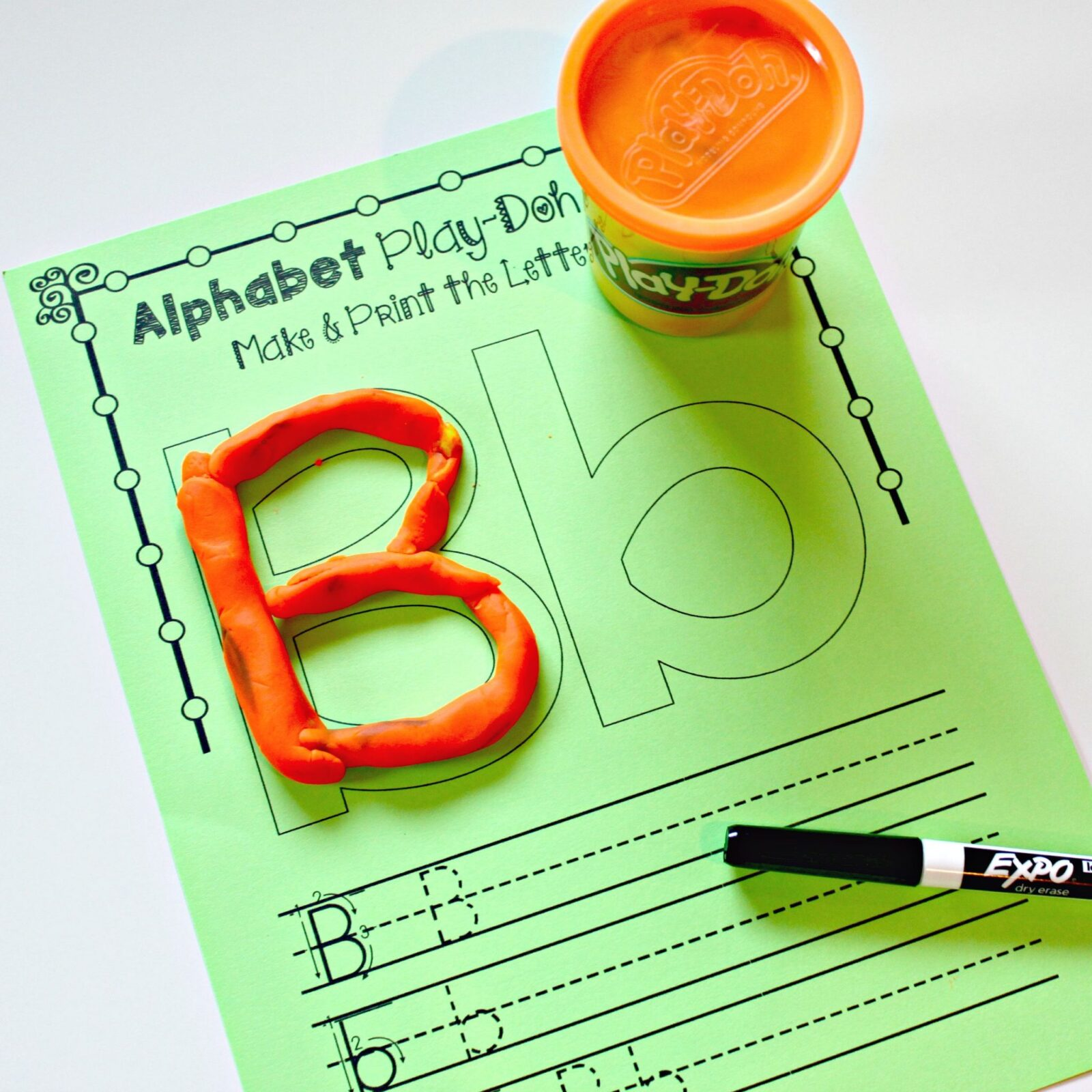 letter recognition - alphabet letter playdough mats