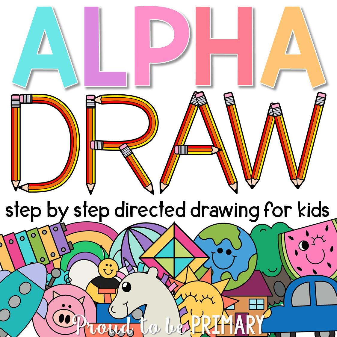 alpha draw step by step directed drawing for kids