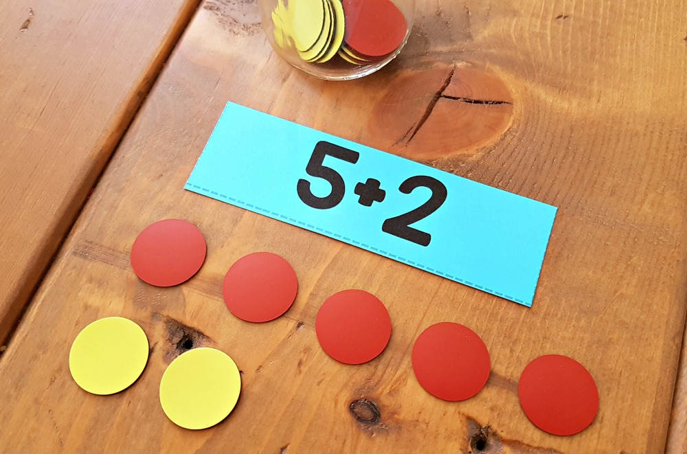 addition and subtraction activities for kids - counting chips