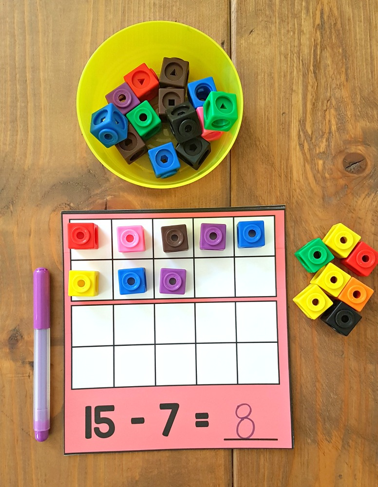 addition and subtraction activities for kids - tens frames and counting cubes