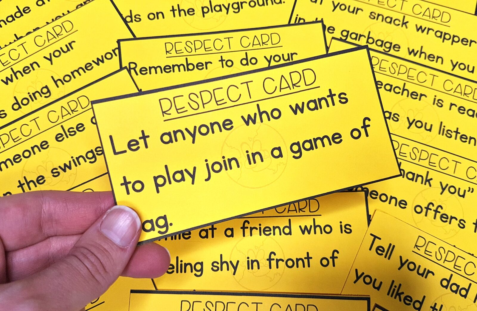 teaching respect with task cards