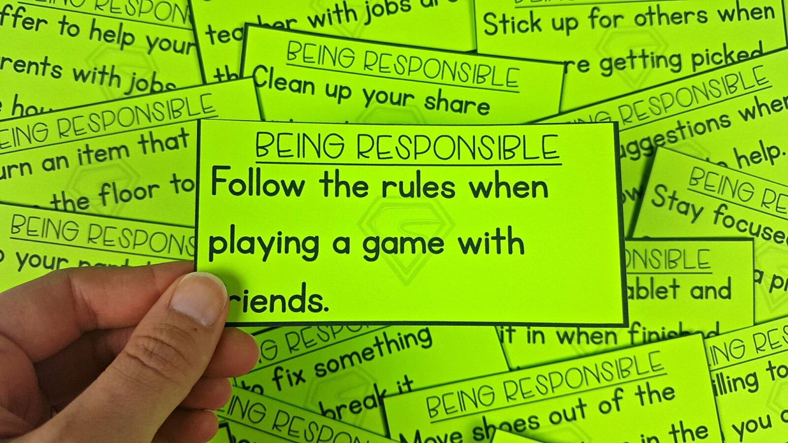 """teaching responsibility with """"being responsible"""" cards"""