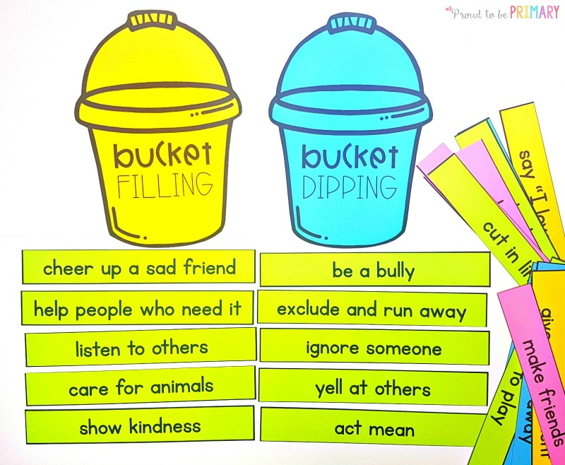 bucket filler activities: bucket filling and bucket dipping sort by Proud to be Primary