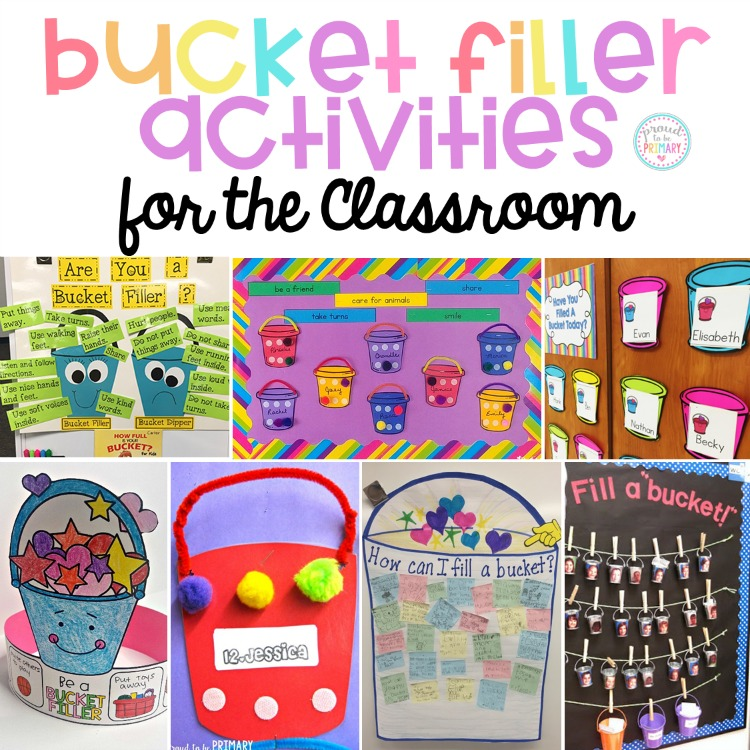bucket filler activities for the classroom on bulletin boards and anchor charts