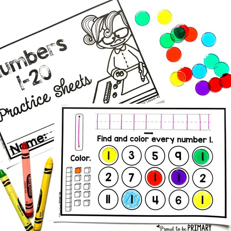 numbers to 20 math practice booklet for first grade