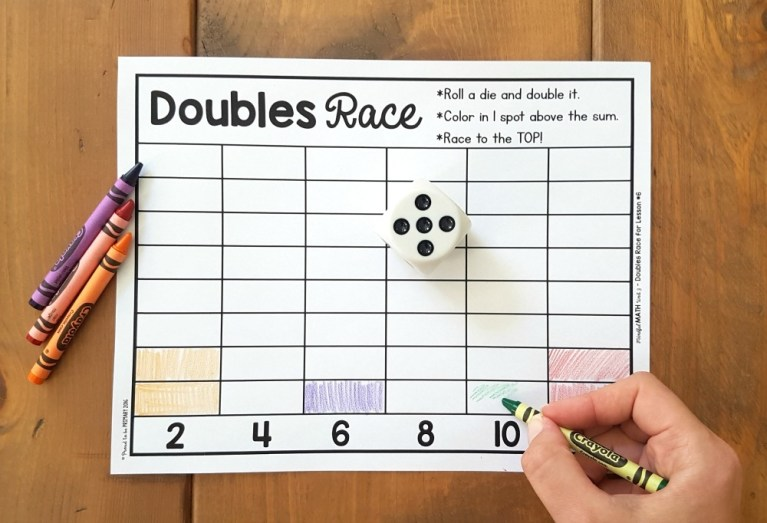 doubles race addition strategy math game