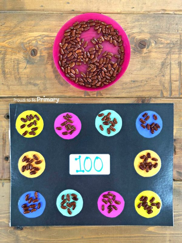 100 days of school idea: making groups of ten with bean counters