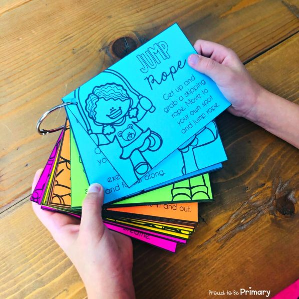 activity cards with brain break ideas for kids