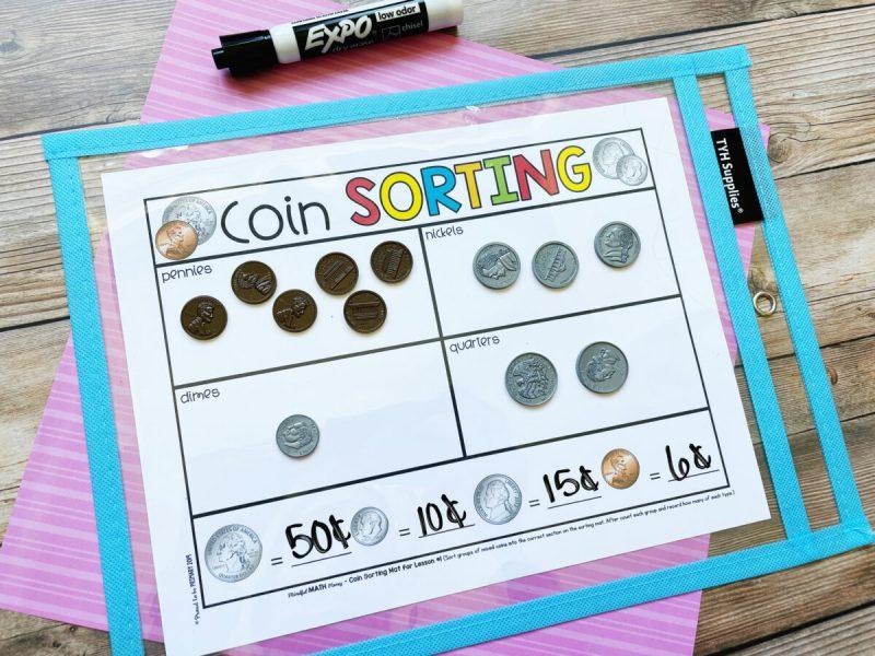 coin sorting mat activity - mindful math