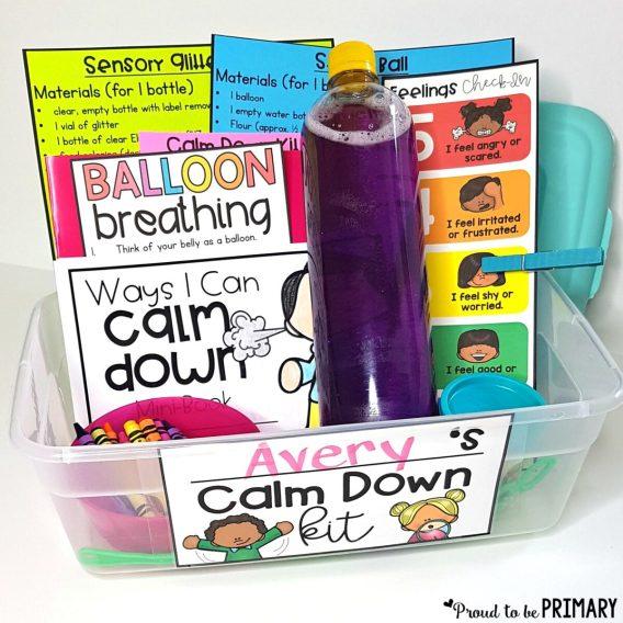 How to Create a Calm Classroom: DIY calm down kit