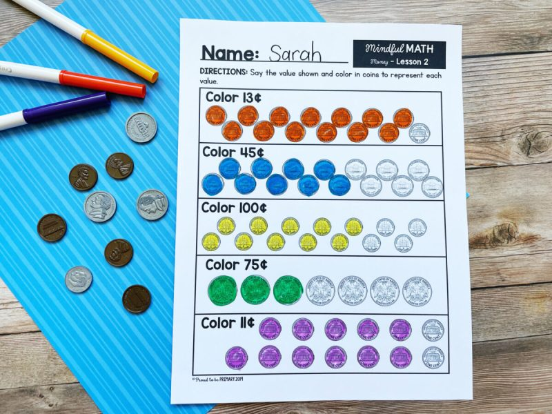 mindful math printable worksheet counting and adding coins